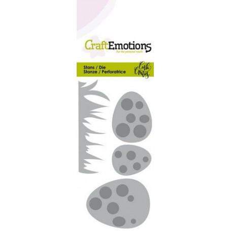 CraftEmotions Die - Easter - Gras und Eier mit Dots Card 5x10cm