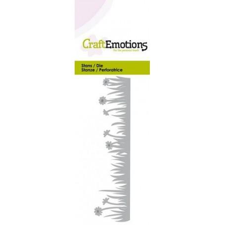 CraftEmotions Die - Grasrand mit Wiesenblumen Card 5x10cm