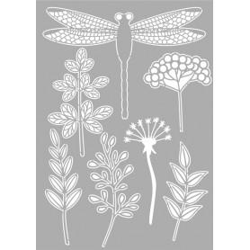 Memories4You Stencil A4 - Dragonfly ( Gräser und Libelle )