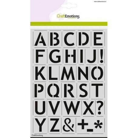 CraftEmotions Schablone - alfabet basic A5 - 27mm