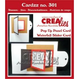 Crealies Cardzz Wasserfall-Schieberegler + Popup-Panel-Karte