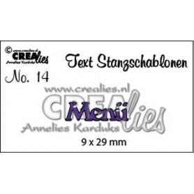 Crealies Tekststans Nr 14 Menü 9x29 mm