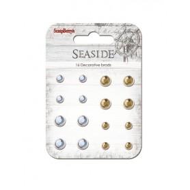 """Set of brads """"Seaside"""", pale blue, ochre, 16pcs"""