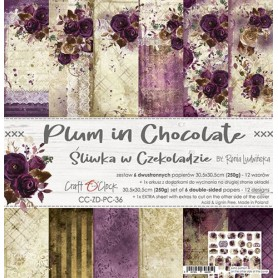 "Paper Collection Set 12""*12"" Plum In Chocolate"