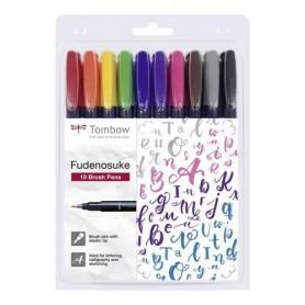 Tombow Brush Pen Fudenosuke hart Set mit 10 Farben