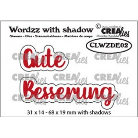 Crealies Wordzz with Shadow Gute Besserung 68x19mm