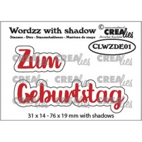 Crealies Wordzz with Shadow Zum Geburtstag  76x19mm