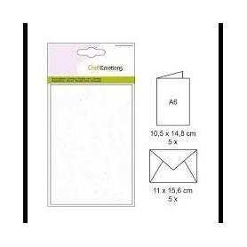 CraftEmotions 5 Briefumschläge, 5 Papierkarten - Blasses Gelb