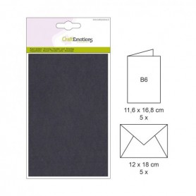 CraftEmotions 5 Briefumschläge, 5 Papierkarten - Schwarz