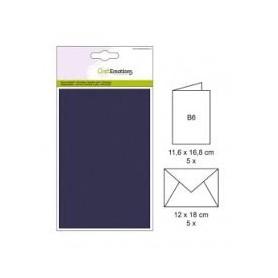 CraftEmotions 5 Briefumschläge, 5 Papierkarten - Dunkelblau