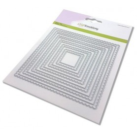 CraftEmotions Big Nesting Die - Scalop Quadrate Card 150x160 - scalop 6,5 - 15cm