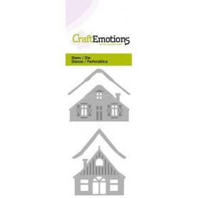 CraftEmotions Die - 2 Häuser mit Schnee Card 5x10cm