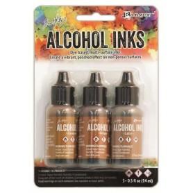 Ranger Alcohol Ink Kits Cabin Cupboard Caramel, Ginger, Latte Tim Holtz 3x15ml