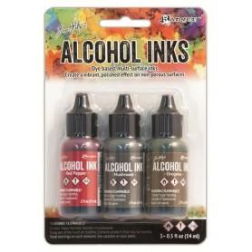 Ranger Alcohol Ink Kits Tuscan Garden Red Pepper, Mushroom, Oregano Tim Holtz 3x15ml
