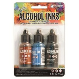Ranger Alcohol Ink Kits Miners Lantern Rust, Stonewashed, Pitch Black Tim Holtz 3x15ml