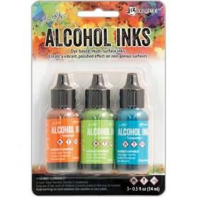 Ranger Alcohol Ink Kits Spring Break Valencia/Limeade/Turq. Tim Holtz 3x15ml