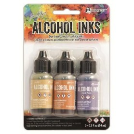 Ranger Alcohol Ink Kits Wildflowers Lemonade,Peach Bellini,Cool Peri Tim Holtz 3x15ml