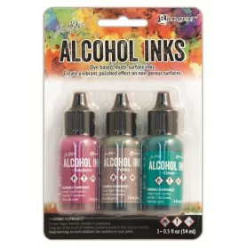 Ranger Alcohol Ink Kits Valley Trail Raspberry,Pebble,Clover Tim Holtz 3x15ml