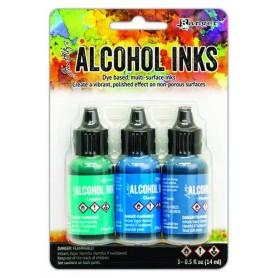 Ranger Alcohol Ink Kits Teal/Blue Spectrum 3x15 ml Tim Holtz