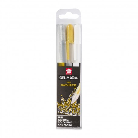 Sakura - Gelly Roll Gelstift Gold, Silber & Weiß 3Stück