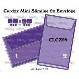 Crealies Cardzz Mini Slimline 2x Umschlag CLCZ99 finished: 2x 10,5x17 cm