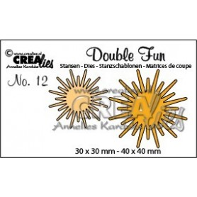 Crealies Double Fun no. 12 Sonnenstrahlen CLDF12 / 3 cm & 4 cm