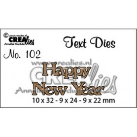 Crealies Tekststans (Eng) happy new year 10x32-9x24-9x22mm