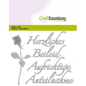 CraftEmotions Die Tekst - Herzliches Beileid Card 11x9cm