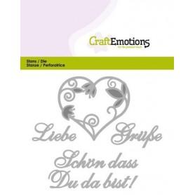 CraftEmotions Die Tekst - Liebe Grüsse Card 11x9cm