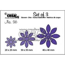 Crealies Set of 3 no. 36 Blumen 18 40x40 - 30x30 - 20x20mm