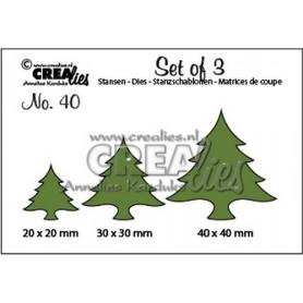 Crealies Set of 3 no. 40 Weihnachtsbäume dick 20x20-30x30-40x40mm