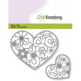 CraftEmotions Die - Herzen mit Kristallverzierung 2x Card 11x9cm
