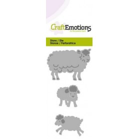 CraftEmotions Die - Schafe mit Lämmer Fantasie Card 5x10cm